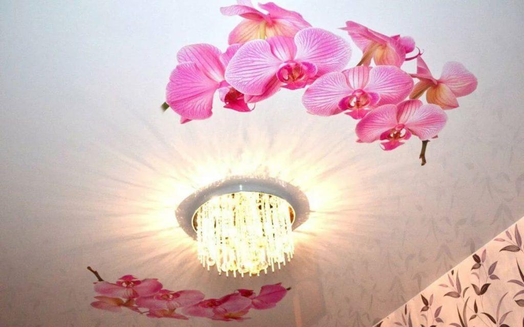 Натяжной потолок с фотопечатью в зале 17,2 кв.м.