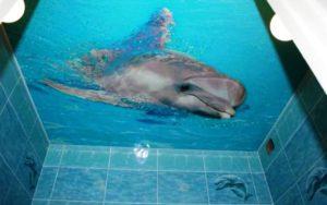 Гланцевый натяжной потолок в ванной 2,25 кв.м. с фотопечатью