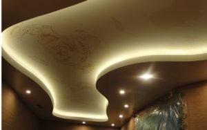 Натяжные потолки двухуровневые с подсветкой и фотопечатью