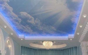 Натяжные потолки фотопечать небо в гипсокартоне