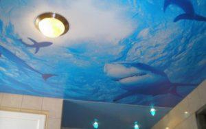 Натяжные потолки в ванной фотопечать акулы