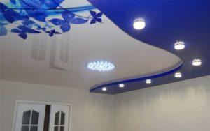 Двухуровневый натяжной потолок с фотопечатью 20,2 кв.м.