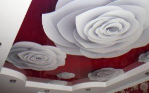 Натяжные потолки фотопечать белые розы